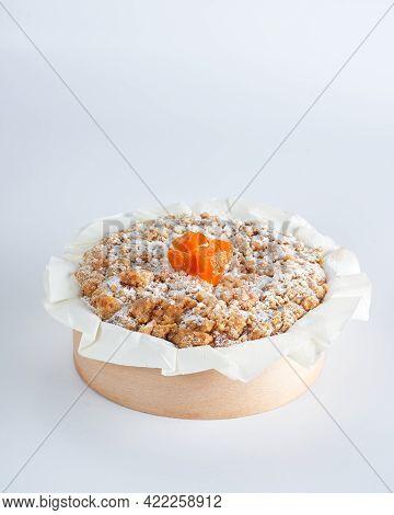 Baked Mini Crumble Cake With Dried Fruits On Recycle Mini Wooden Baking Mold, White Background, Spac