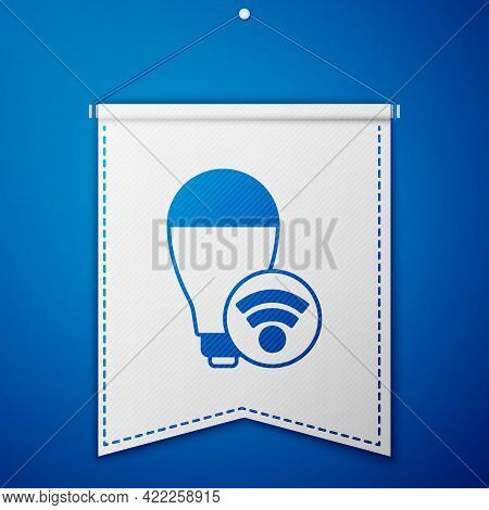 Blue Smart Light Bulb System Icon Isolated On Blue Background. Energy And Idea Symbol. Internet Of T