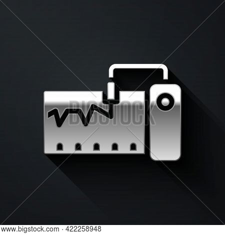 Silver Electrical Measuring Instrument Icon Isolated On Black Background. Analog Devices. Measuring