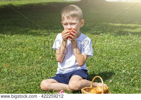 Little Boy Kid 5-6 Years Old Eats Apple Sitting On Green Grass. Outdoors Picnic On Summer Sunny Day.