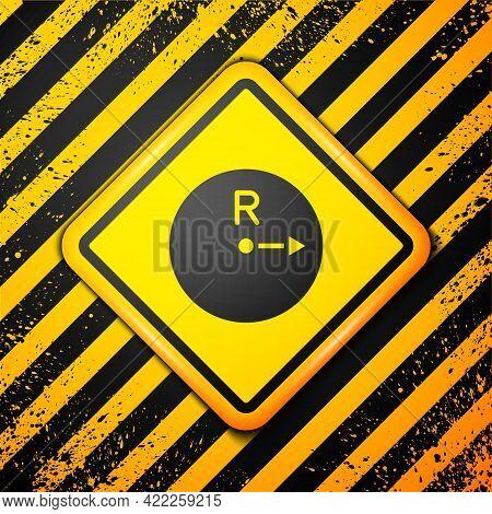 Black Radius Icon Isolated On Yellow Background. Warning Sign. Vector