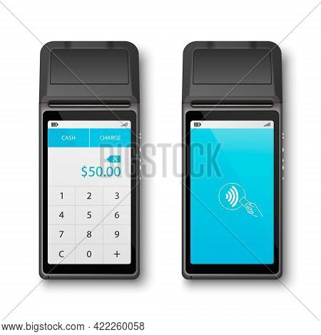 Vector Realistic Black 3d Payment Wi-fi Machine. Pos Terminal Closeup Isolated On White Background.
