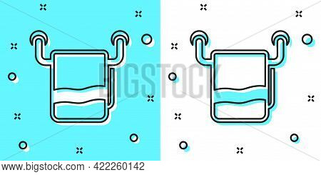 Black Line Towel On A Hanger Icon Isolated On Green And White Background. Bathroom Towel Icon. Rando