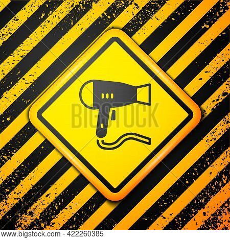 Black Hair Dryer Icon Isolated On Yellow Background. Hairdryer Sign. Hair Drying Symbol. Blowing Hot