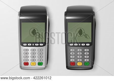 Vector 3d Realistic Silver, Black Payment Wi-fi Machine Set. Pos Terminal Closeup Isolated. Approved