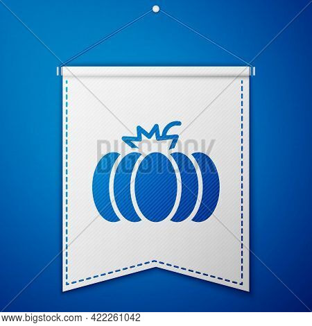 Blue Pumpkin Icon Isolated On Blue Background. Happy Halloween Party. White Pennant Template. Vector