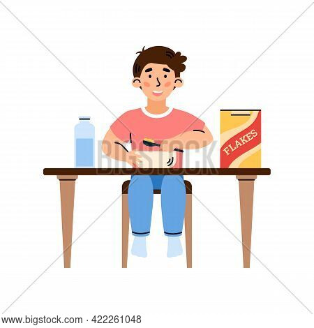Child Boy Eats Cereal Flakes For Breakfast, Cartoon Vector Illustration Isolated.