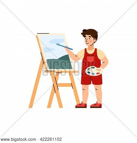 Boy Behind Easel Painting On Canvas, Cartoon Vector Illustration Isolated.