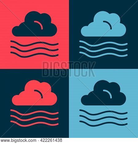Pop Art Windy Weather Icon Isolated On Color Background. Cloud And Wind. Vector