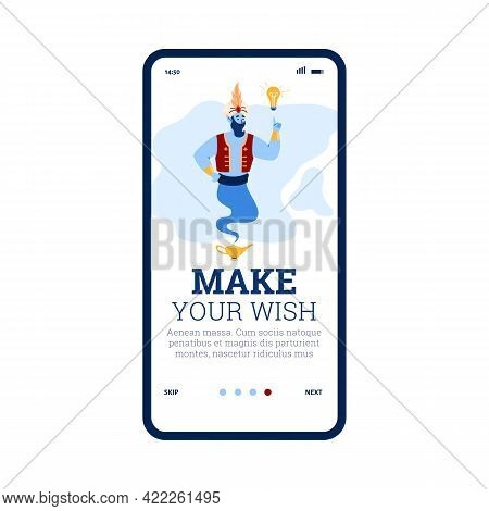 Onboarding Page Of Mobile App With Friendly Genie Cartoon Vector Illustration.