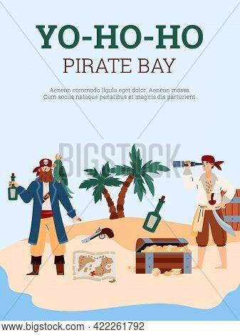 Pirate Bay Party Or Quest Banner With Cartoon People Flat Vector Illustration.