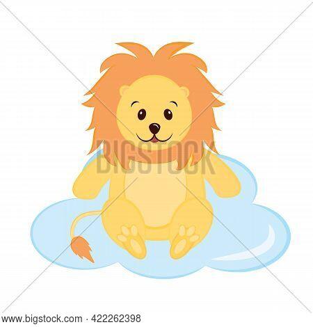 Little Cute Lion Sits On A Cloud. Print For Kids Room Decoration, Kids Clothes, Kids Party Invitatio