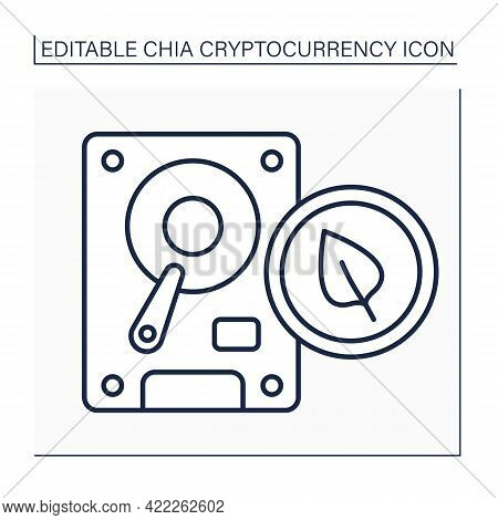 Chia Plot Line Icon. Hard Disk Space. Output Plot File, Temporary Space. Digital Money Concept.isola