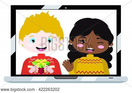 Boy And Girl On Laptop Screen