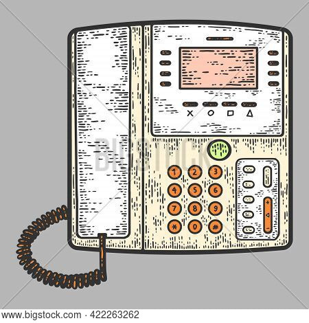 Office Telephone. Business Phone. Sketch Scratch Board Imitation Color.