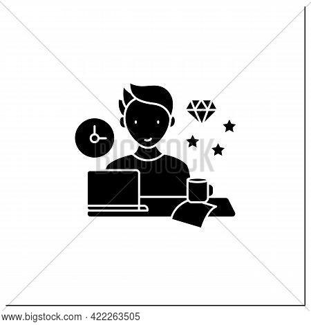 Perfectionist Procrastinator Glyph Icon. Set Large, Unattainable Goals. Tired To Solve Tasks.procras