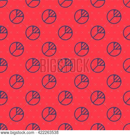 Blue Line Pie Chart Infographic Icon Isolated Seamless Pattern On Red Background. Diagram Chart Sign