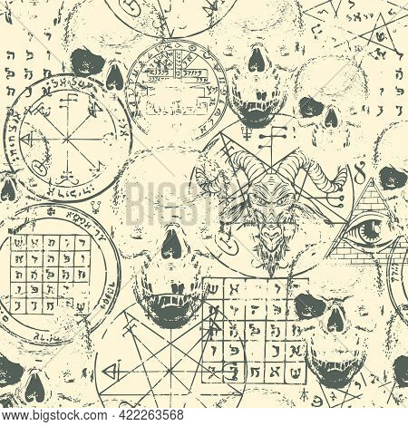 Abstract Seamless Pattern With Goat Head, Human Skulls, Esoteric And Occult Symbols On An Old Paper