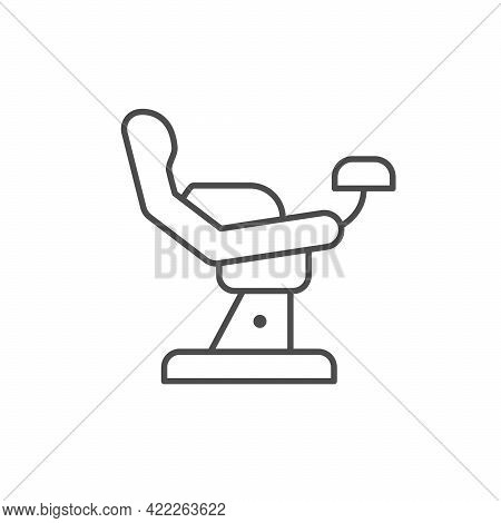 Gynecological Chair Line Outline Icon Isolated On White.
