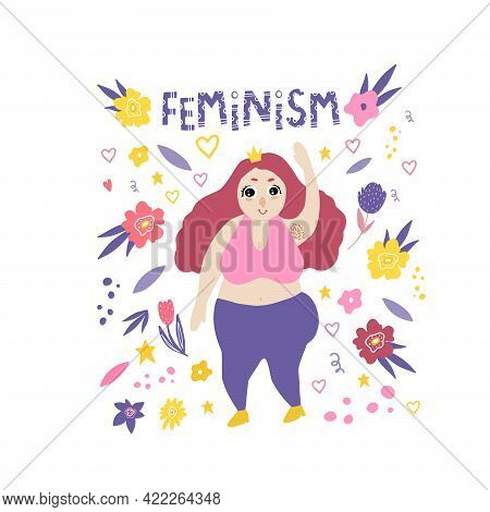 The Plus-size Girl Is Happy. A Stylish Plump Girl With A Crown Says Hello. Feminism. Doodle Style. T