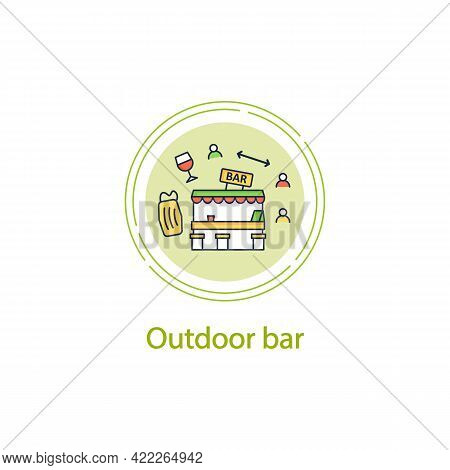 Outdoor Bar Concept Line Icon.outdoor Dining Space. Forced Distance.regulation Through Covid19. Rest