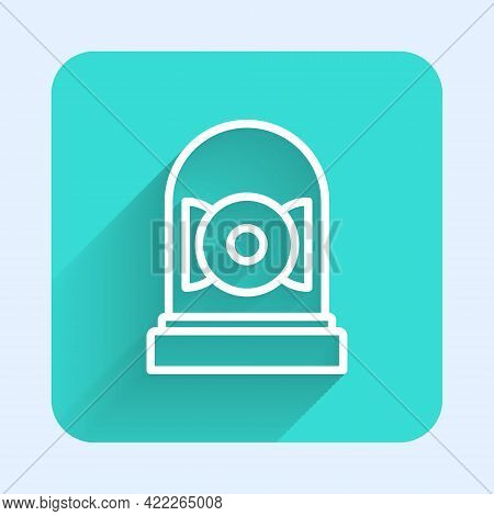 White Line Ringing Alarm Bell Icon Isolated With Long Shadow. Alarm Symbol, Service Bell, Handbell S