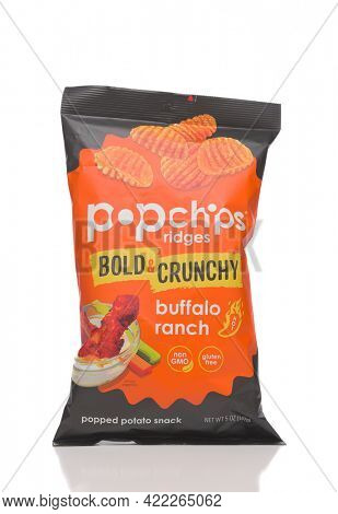 IRVINE, CALIFORNIA - 28 MAY 2021: A bag of Pop Chips Ridges Bold and Crunchy Buffalo Ranch, a popped potato snack.