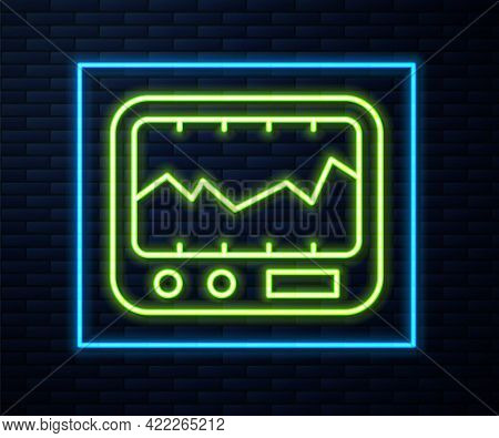 Glowing Neon Line Electrical Measuring Instrument Icon Isolated On Brick Wall Background. Analog Dev