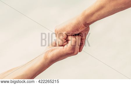 Helping Hand Outstretched. Friendly Handshake, Friends Greeting, Teamwork