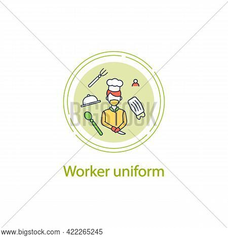 Worker Uniform Cocept Line Icon. Kitchen Stuff Making Food In Face Mask And Gloves.regulation Throug