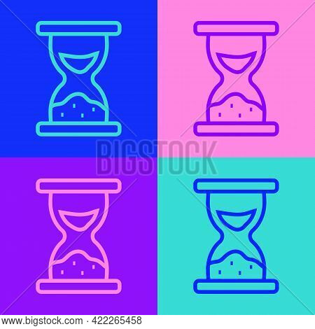 Pop Art Line Old Hourglass With Flowing Sand Icon Isolated On Color Background. Sand Clock Sign. Bus