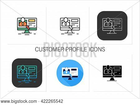 Customer Profile Icons Set. Information About Person, Interests, Buying Patterns, And Demographic Ch