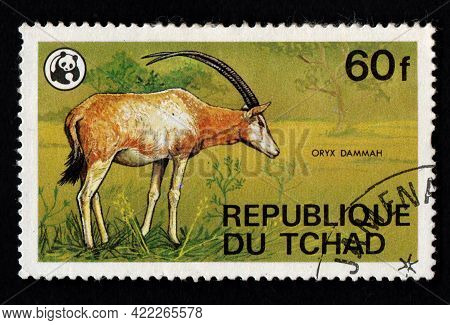 Chad - Circa 1982: Chad Postage Stamp Featuring Oryx Dammah. Antelope In Savannah On Postage Stamp.