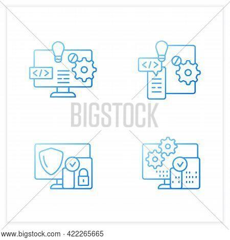Cross Platform Gradient Icons Set. Software And Hardware Platform, Security, Programming. Digitaliza