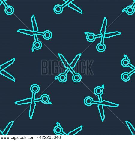 Green Line Scissors Hairdresser Icon Isolated Seamless Pattern On Blue Background. Hairdresser, Fash