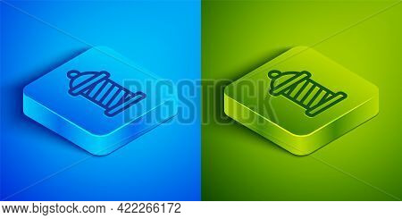 Isometric Line Classic Barber Shop Pole Icon Isolated On Blue And Green Background. Barbershop Pole