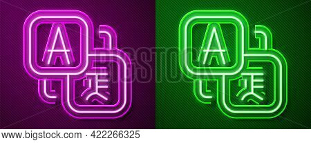 Glowing Neon Line Translator Icon Isolated On Purple And Green Background. Foreign Language Conversa