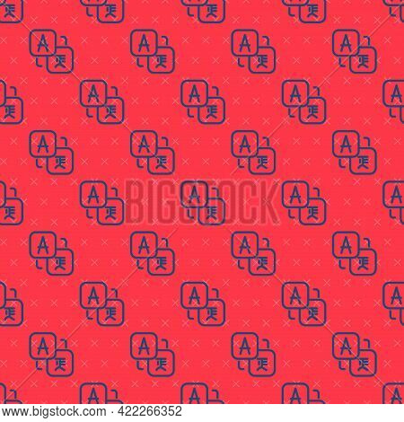 Blue Line Translator Icon Isolated Seamless Pattern On Red Background. Foreign Language Conversation