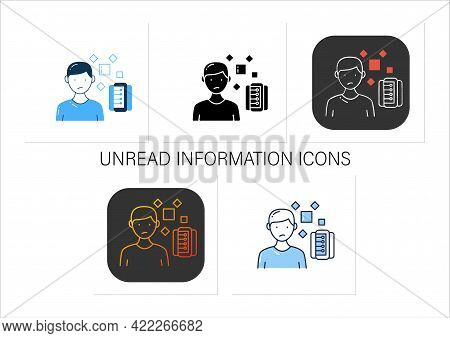 Unrelated Information Icons Set.pieces Of Unrelated Info.contamination Information Space.collection