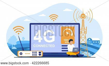 Modern High Speed Network Wireless Technology For Faster Connectivity With Personal Devices. Flat Ab