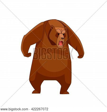 Standing And Roaring Big Bear. Cartoon Flat Vector Illustration On White Background