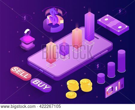 Digital Money Market, Investment, Finance And Trading. Forex Expo Horizontal Banner. Flat Abstract M