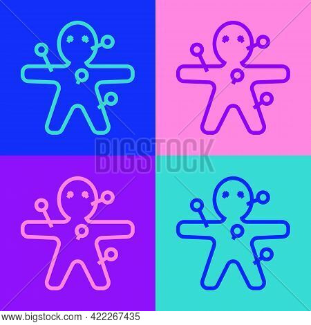 Pop Art Line Voodoo Doll Icon Isolated On Color Background. Happy Halloween Party. Vector