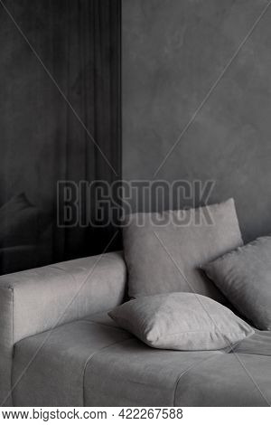 Concept Of Loft Style House With New And Modern Furniture. Vertical View Of Comfortable Couch With G