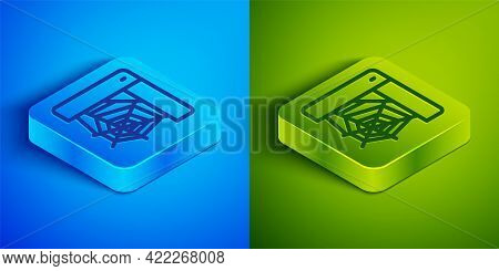 Isometric Line Spider Web Icon Isolated On Blue And Green Background. Cobweb Sign. Happy Halloween P