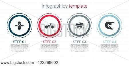 Set Knee Pads, Bicycle, Jet Ski And Motocross Motorcycle Helmet. Business Infographic Template. Vect