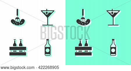 Set Beer Bottle, Pickled Cucumber On A Fork, Pack Of Beer Bottles And Martini Glass Icon. Vector