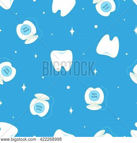 Seamless Pattern With Teeth Hygiene Items, Cartoon Background With Teeth And Dental Floss In Blue Co