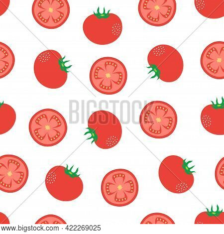 Seamless Vector Pattern Of Tomatoes On White Background, Print With Wholes And Sliced Of Cartoon Tom