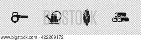 Set Leaf Garden Blower, Watering Can, Corn And Wooden Logs Icon. Vector